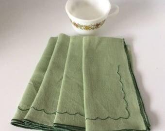 Green Cotton Embroidered Dinner Napkins | Vintage