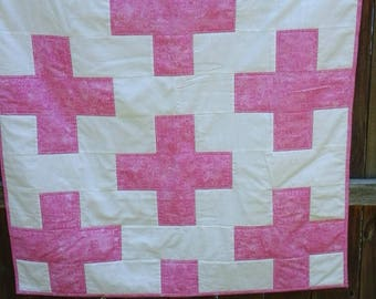 Pink and White Baby Cross Quilt