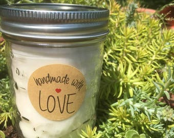 Natural Soy Candle, Citronella candle, Glass Jar, 8oz, outside candles, hand poured soy candles, essential oils