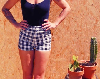 Retro Pin Up vintage Plaid shorts