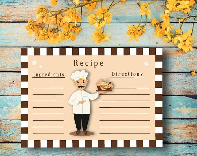 Print for home Digital card recipe chef. Printable gifts. Card for recording recipes