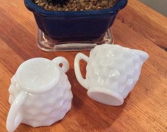 Vintage Milk Glass sugar and creamer, cubist pattern
