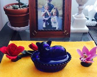 Vintage Cobalt Blue Glass Kitty Cat Sitting on Basket 2 Piece Candy Dish