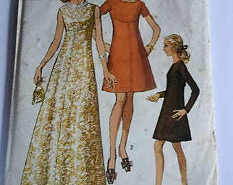 Vintage 1970 Simplicity Womens  Dress Pattern #8498 Retro  Long Dress Gown Size 12 Evening Dress