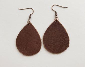 The Morgan/ Dark Brown Leather Teardrop Earrings