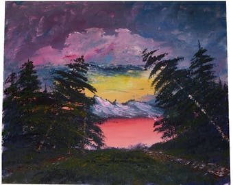 Sunset on Lake, Acrylic paint