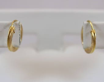 22k Yellow Gold 917 Hoop Hinged Earwire Earrings 1.4g