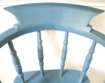 Hallway chair, blue chair, living room chair / dining chair / occasional chair, captains chair, arm chair, vintage chair hand painted
