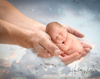 2x! Gift from God! Newborn Girl/Boy Digital Backdrop Background God's Hands Heaven Christian - From God - Instant Download Photography Prop