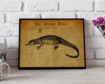 Alligator Reptile Vintage poster, Gift poster, Alligator Reptile wall art, Alligator Reptile Vintage wall decor, Alligator Reptile print