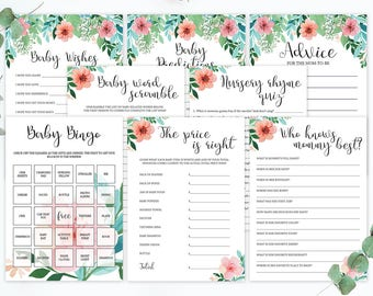 Watercolor Baby Shower Games Set Baby Shower Activity Package Printable Activities for Baby Shower Floral Games for Baby Shower Bingo FG1