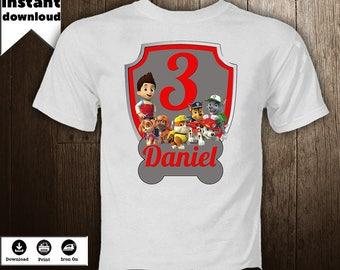 Paw Patrol Iron On  Transfer  Image  Birthday Boy Personalized Disney T-Shirt  Printables Shirt  DIY  - DIGITAL FILE