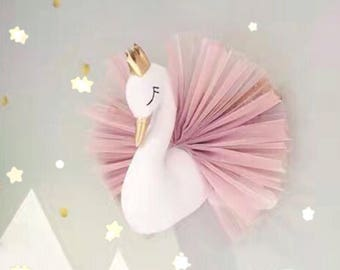 Swan princess wall hanging - nursery - childs room - faux taxidermy