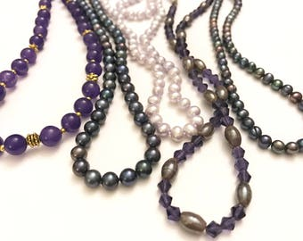 Vintage Lot of Five Costume Tones of Purple and Lavender Beaded Necklaces and One Bracelet
