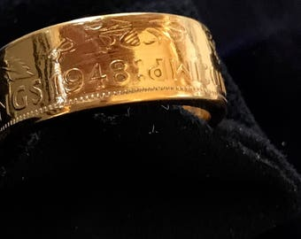 1948 two shilling coin ring with a 24ct gold plating ring size W. Ring has been made from a circulated coin