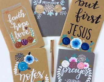 Journals,hand lettered journals,hand painted journal, prayer journal,notes journal
