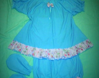 Adult Baby Sissy Dress and Diaper Cover Bloomers Panties Scratch Mittens Ruffles Crossdresser Role Play