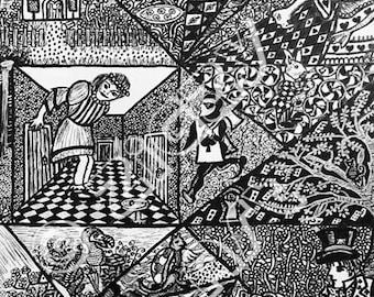 Alice In Wonderland - Original Drawing. Mounted. Framed. Pen. Alice In Wonderland. Lewis Carroll. Drawing. Wall Art.