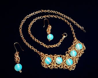 Captured moonstone jewelry set, Earrings, Necklace, Chainmail, Handmade