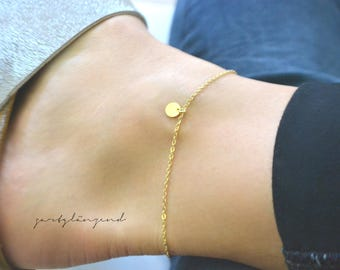 "Gold filled anklet with plate ""XS"""