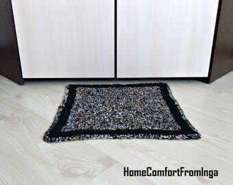 Black rug, Rug, dog cat bed, crochet rug, area rug, braided rug, rainbow rug, carpet for kitchen, nursery, bath Mat, carpets, decorative rug