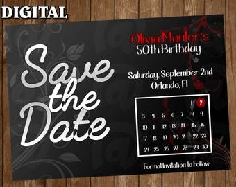 Save the date  Digital Party Invitation Custom Personalized Birthday