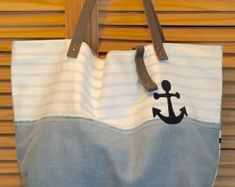 Reversible white and Navy Blue linen tote bag