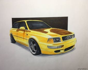 Audi S2 avant car drawing - Copic markers