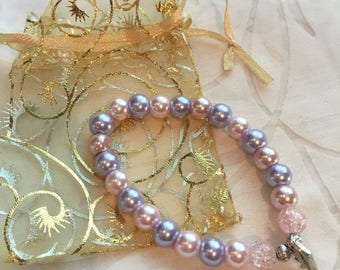 Handcrafted 'princess' beaded bracelet 17cm - baby pink, lilac