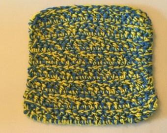 Pot holder - light blue/yellow