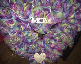 All About Mom Mesh Wreath
