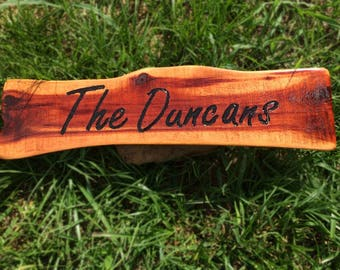 Personalized Family Name Sign,Cedar,Shaped and Engraved by Hand. Great Fathers Day Gift!