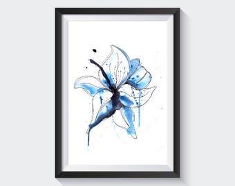 Original Artwork - Loose watercolour lily - botanical - flowers - modern