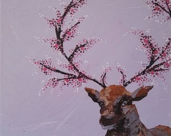 Cherry Blossom Deer Painting Print Palette