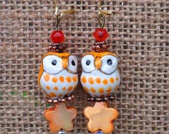 Owl Earrings-Pierced-Handmade Earrings-Orange and White