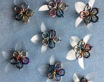 Flower - Single Layer - Clear Pedals - Mixed Color RIngs