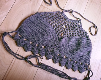 Crochet Top Festival Crop Halter Handmade