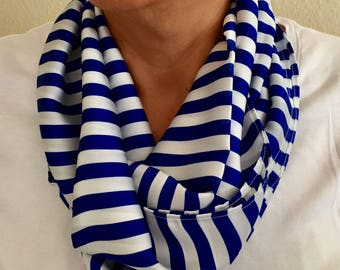 White & Blue Striped Infinity Scarf
