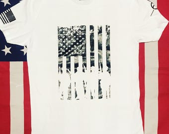 Men's white soldiers flag shirt