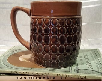 Vintage Levco Brown Spotted Ceramic Mug Coffee Cup