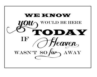 Remembering Loved Ones Wedding Sign/ Heaven Wasn't So Far Away / Wedding Signs