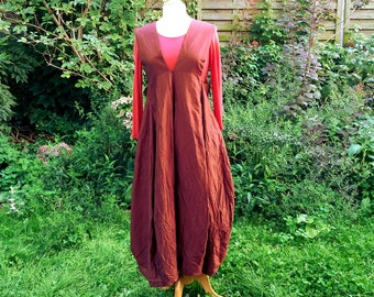 wine red pinafore dress of silk taffeta