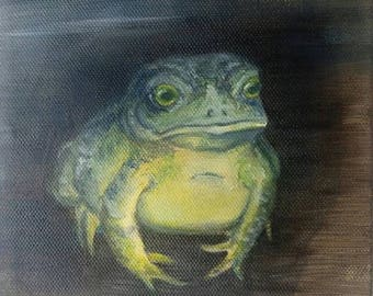 Verdant Toad 6x6 Original Oil Painting Animal Art on canvas
