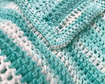 Greens and White Baby Blanket