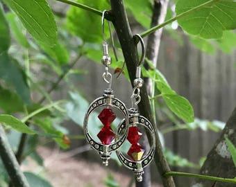 Swarovski Elements - Red Crystal Earrings