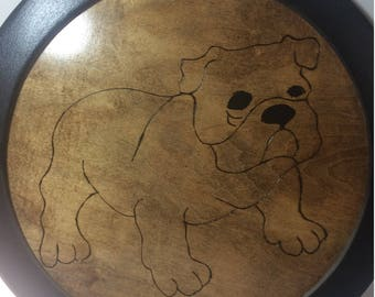 "Wood burnt 14"" BullDog"