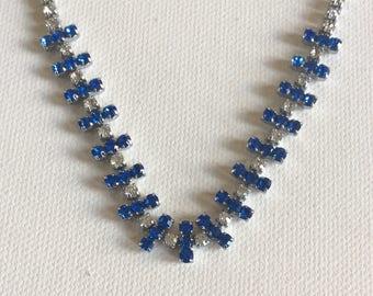 Vintage bridal necklace.  Blue and white stones. Wedding. Brides. Bridesmaid.
