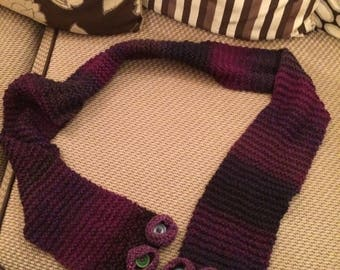 Purple/blue mix scarf with flower detail
