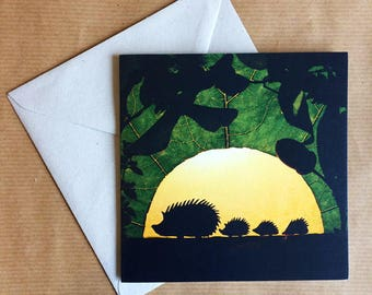 Greeting Card - Woodland Creatures - Hedgehog Family