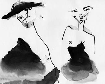 Beauty beauty, India ink painting on canvas